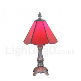 6inch Handmade Rustic Retro Tiffany Table Lamp Red Lamp Shade Bedroom Living Room Dining Room