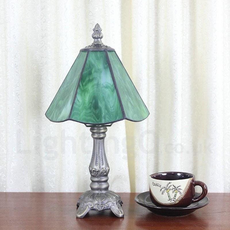 6inch Handmade Rustic Retro Tiffany Table Lamp Green Lamp Shade Bedroom Living Room Dining Room