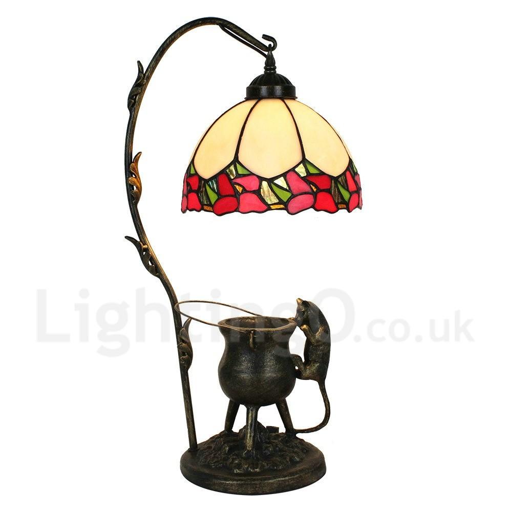 handmade rustic retro tiffany table lamp pilfering cat red edge bedroom living room dining room. Black Bedroom Furniture Sets. Home Design Ideas
