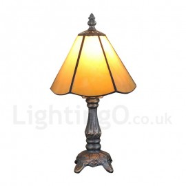 6inch Handmade Rustic Retro Tiffany Table Lamp Yellow Lamp Shade Bedroom Living Room Dining Room