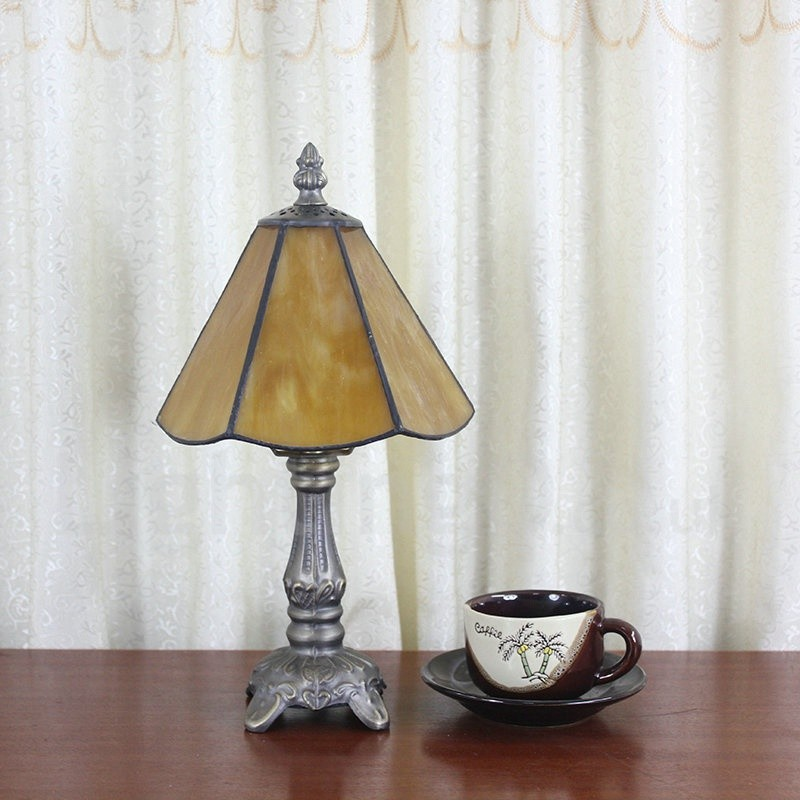 Living Room Lamp Shades: 6inch Handmade Rustic Retro Tiffany Table Lamp Yellow Lamp