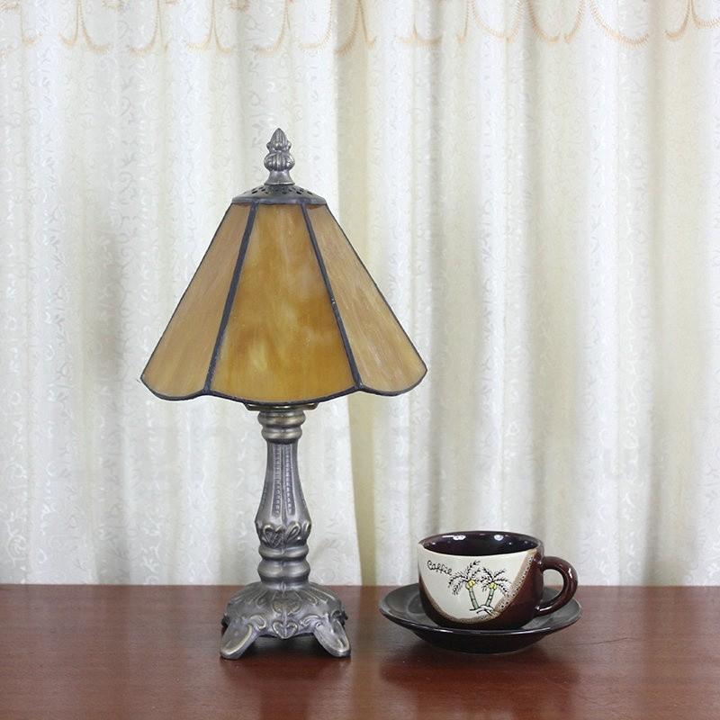 6inch Handmade Rustic Retro Tiffany Table Lamp Yellow Lamp Shade Bedroom Living Room Dining Room