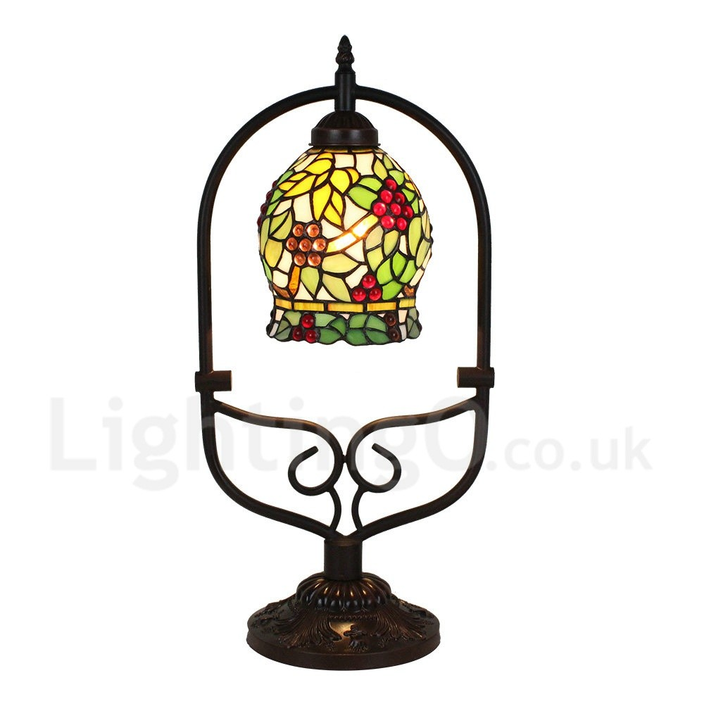 Handmade Rustic Retro Tiffany Table Lamp Colorful Grape Pattern Arched Metal Frame Bedroom