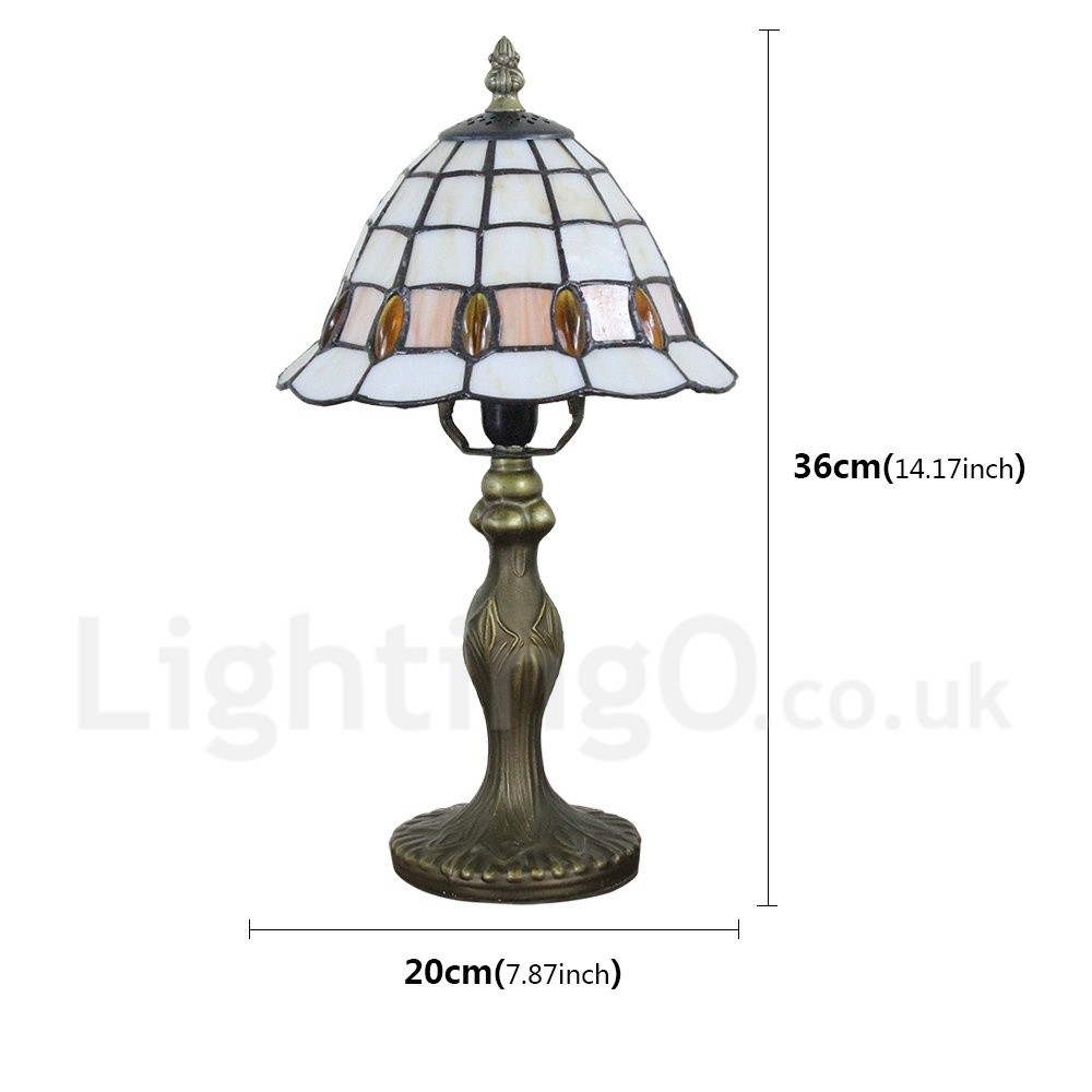 Handmade Rustic Retro Tiffany Table Lamp Resin Base Grid Pattern And Orange Gem Bedroom Living