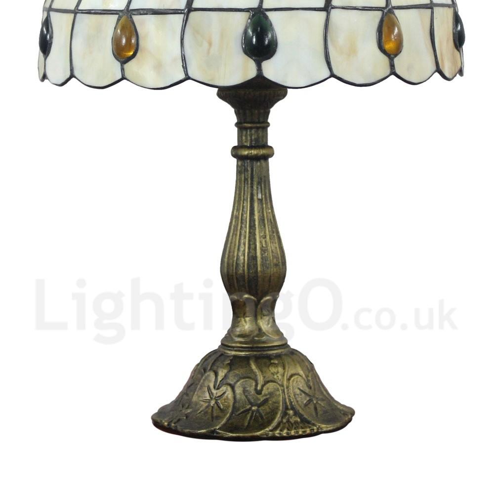 Diameter 30cm 12 Inch Handmade Rustic Retro Tiffany Table Lamp Colorful Gem Shade Bedroom