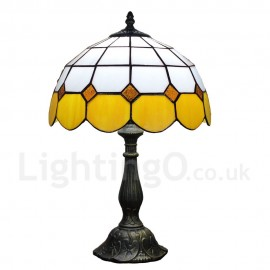 Diameter 30cm (12 inch) Handmade Rustic Retro Tiffany Table Lamp Mesh Pattern Shade Yellow Edge Bedroom Living Room Dining Room