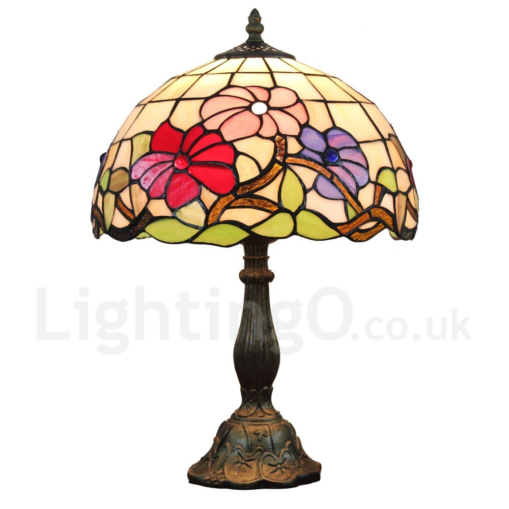 Diameter 30cm (12 Inch) Handmade Rustic Retro Tiffany Table Lamp Colorful  Flower Pattern Shade ...