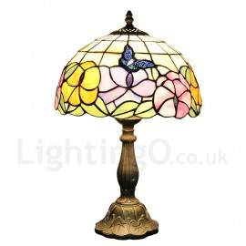 Diameter 30cm (12 inch) Handmade Rustic Retro Tiffany Table Lamp Butterfly Gathering Flower Pattern Shade Bedroom Living Room Dining Room