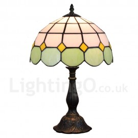 Diameter 30cm (12 inch) Handmade Rustic Retro Tiffany Table Lamp Mesh Pattern Shade Light Green Edge Bedroom Living Room Dining Room
