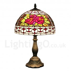 Diameter 30cm (12 inch) Handmade Rustic Retro Tiffany Table Lamp Red Rose Pattern Shade Bedroom Living Room Dining Room