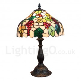 Diameter 30cm (12 inch) Handmade Rustic Retro Tiffany Table Lamp Grape Pattern Shade Bedroom Living Room Dining Room