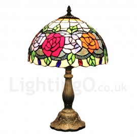 Diameter 30cm (12 inch) Handmade Rustic Retro Tiffany Table Lamp Rose Pattern Shade Bedroom Living Room Dining Room