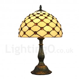 Diameter 30cm (12 inch) Handmade Rustic Retro Tiffany Table Lamp Mesh Pattern Shade Bedroom Living Room Dining Room