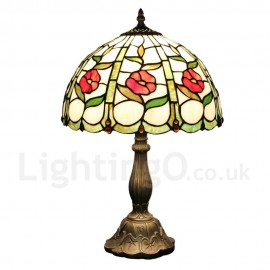 Diameter 30cm (12 inch) Handmade Rustic Retro Tiffany Table Lamp Little Red Flower Pattern Shade Bedroom Living Room Dining Room