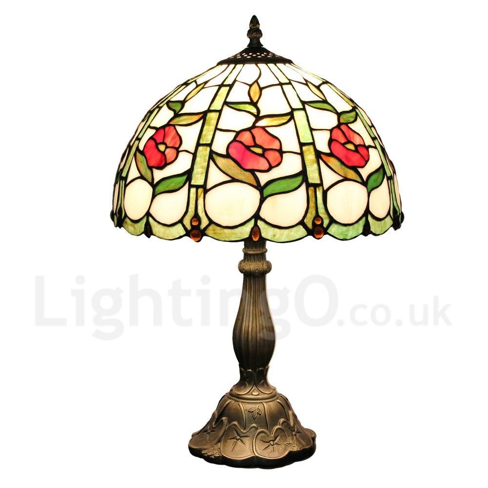 Diameter 30cm 12 Inch Handmade Rustic Retro Tiffany Table Lamp Little Red Flower Pattern Shade
