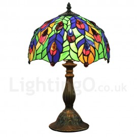 Diameter 30cm (12 inch) Handmade Rustic Retro Tiffany Table Lamp Colorful Leaves Pattern Shade Bedroom Living Room Dining Room
