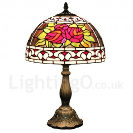 Diameter 30cm (12 inch) Handmade Rustic Retro Tiffany Table Lamp Red Flower Pattern Shade Bedroom Living Room Dining Room