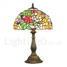 Diameter 30cm (12 inch) Handmade Rustic Retro Tiffany Table Lamp Colorful Flower Pattern Shade Bedroom Living Room Dining Room