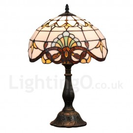 Diameter 30cm (12 inch) Handmade Rustic Retro Tiffany Table Lamp Colorful Pattern Shade Bedroom Living Room Dining Room