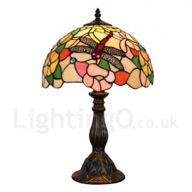 Diameter 30cm (12 inch) Handmade Rustic Retro Tiffany Table Lamp Dragon and Flower Pattern Shade Bedroom Living Room Dining Room