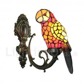 Tiffany Wall Light Glass Parrot Shade Handmade Rustic Retro Bedroom Living Room Dining Room Light