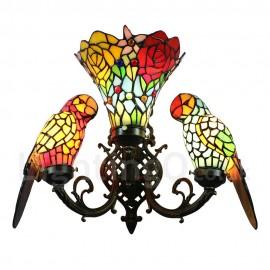 Tiffany Wall Light Handmade Rustic Retro Glass Parrot and Glass Flowers Shade Bedroom Living Room Dining Room Light 3 Lights