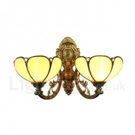 Diameter 20cm (8 inch) Handmade Rustic Retro Tiffany Wall Light Light Yellow 2 Lights Bedroom Living Room Dining Room
