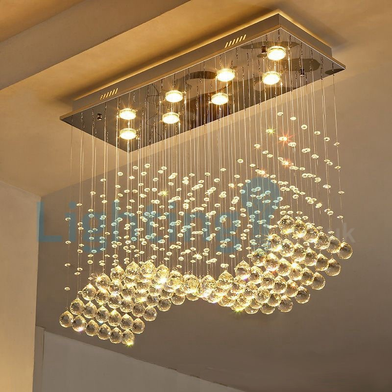Modern Contemporary Chandelier Flush Mount Led Pendant Fixture Crystal Rain Drop Light For High