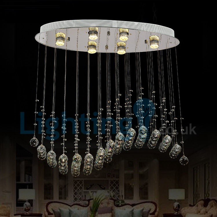 Modern contemporary chandelier flush mount led pendant fixture modern contemporary chandelier flush mount led pendant fixture crystal rain drop light for high ceiling living mozeypictures