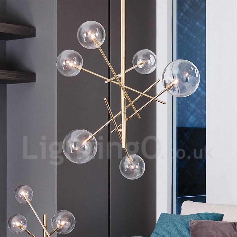 Glass Balls Shade Chandelier Modern Industrial 6 Light European Magic Bean Restaurant Ceiling Light