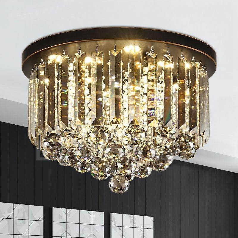 retro round grey crystal ceiling lights for restaurant bar hallway