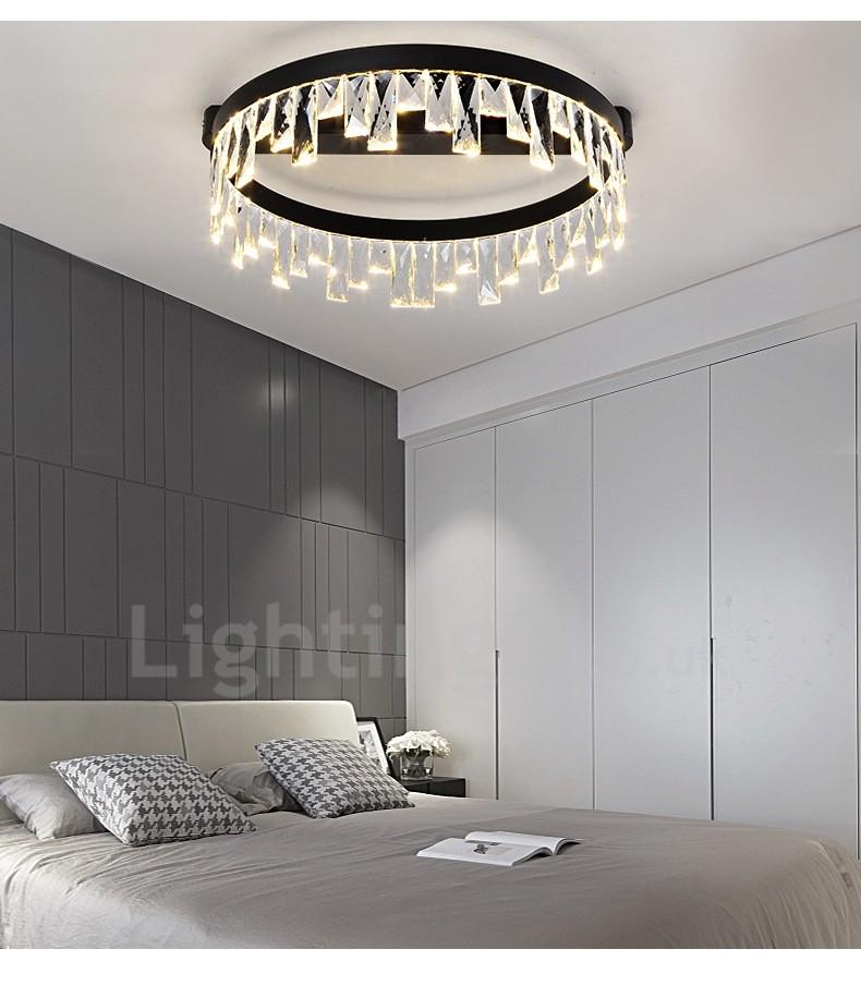 Minimalist Study Room: Modern Minimalist Creative Circular Ceiling Crystal Light
