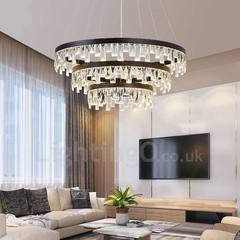 Modern Circle Design Crystal Pendant Lights Living Room