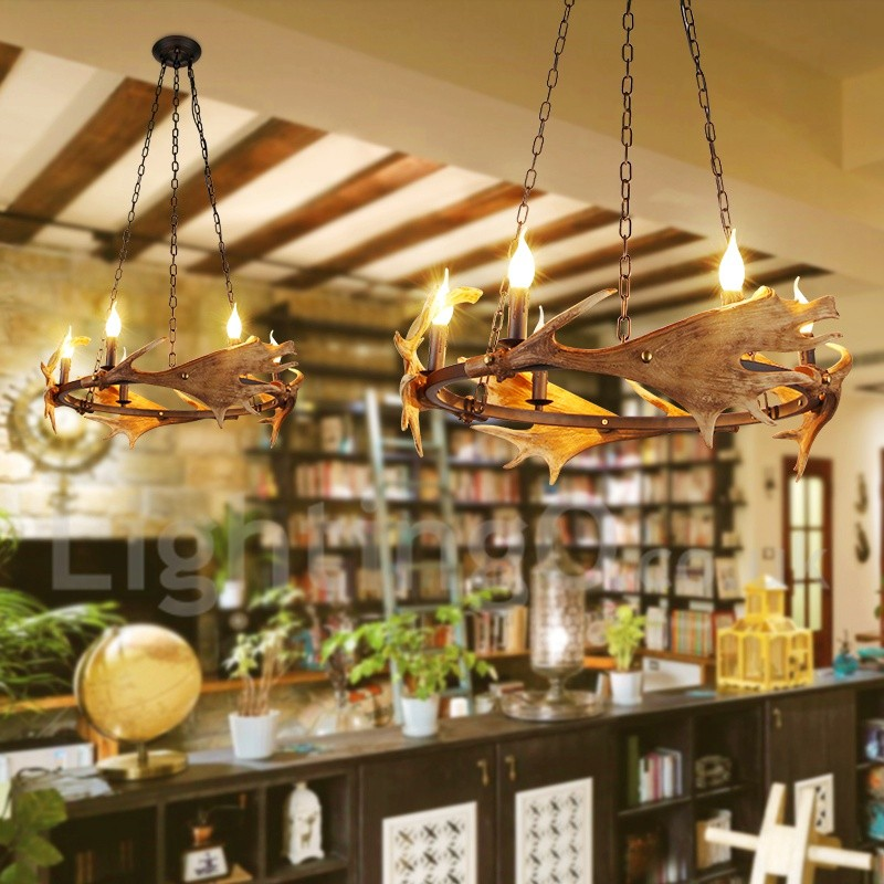 Rustic Wood Ring Dining Chandelier: 6 Light Rustic Ring Antler Chandelier For Living Room