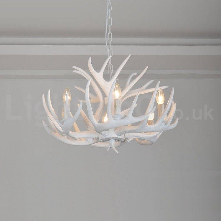 6 light rustic artistic retro antler white chandelier for living 6 light rustic artistic retro antler white chandelier for living room dining room bedroom mozeypictures Choice Image