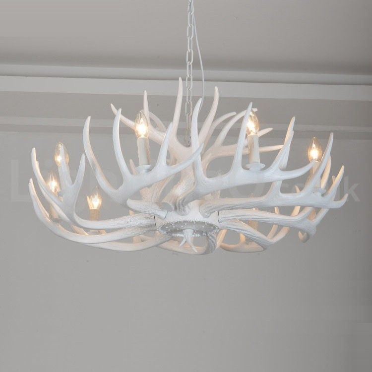artistic modern style living room chandelier design ideas white unique | 9 Light Rustic Artistic Retro Antler White Chandelier for ...