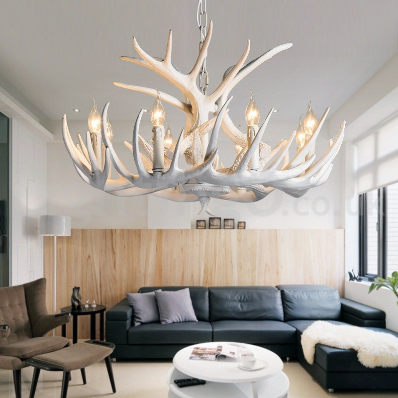 Rustic Chandeliers For Dining Room: 9 Light Rustic Artistic Retro Antler White Chandelier For