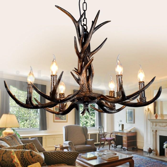 Rustic Chandeliers For Dining Room: 6 Light Rustic Artistic Retro Antler Black Vintage Chandelier For Living Room, Dining Room