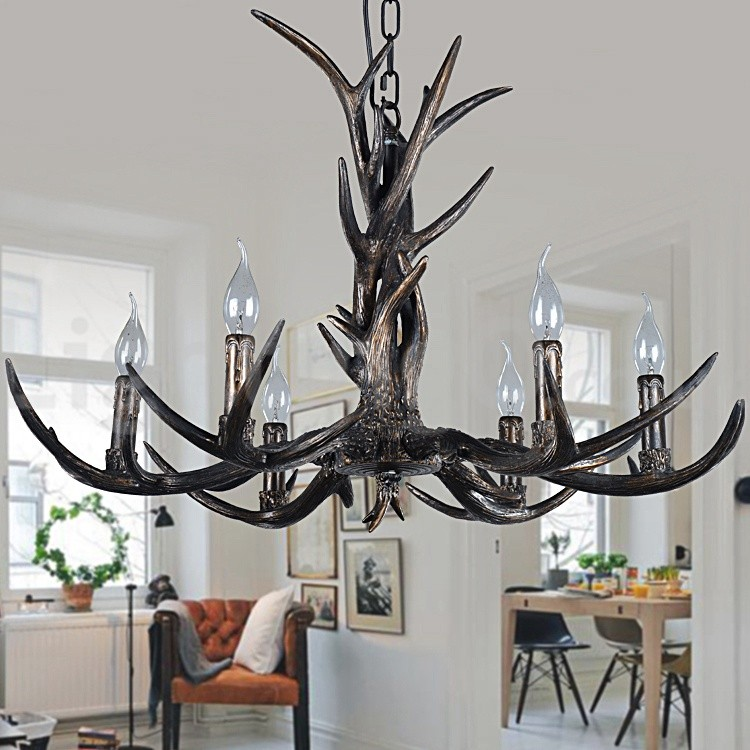 Rustic Chandeliers For Dining Room: 6 Light Rustic Artistic Retro Antler Black Vintage