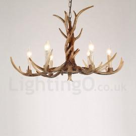Cheap rustic lodge lighting chandeliers online lightingo 6 light rustic artistic retro antler vintage candle chandelier for living room dining room aloadofball Gallery