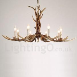 Cheap rustic lodge lighting chandeliers online lightingo 8 light rustic artistic retro antler vintage candle chandelier for living room dining room aloadofball Gallery
