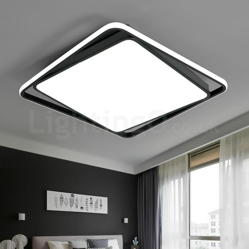 Modern Exquisite Black White Square Flush Mount Ceiling Lamp Living Room Bedroom Study Room