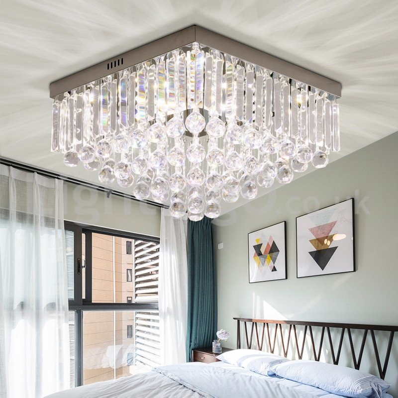Contemporary 40CM/50CM Square Crystal Flush Mount Ceiling Lights Hallway  Balcony Aisle Entrance Dining Room Bedroom Living Room