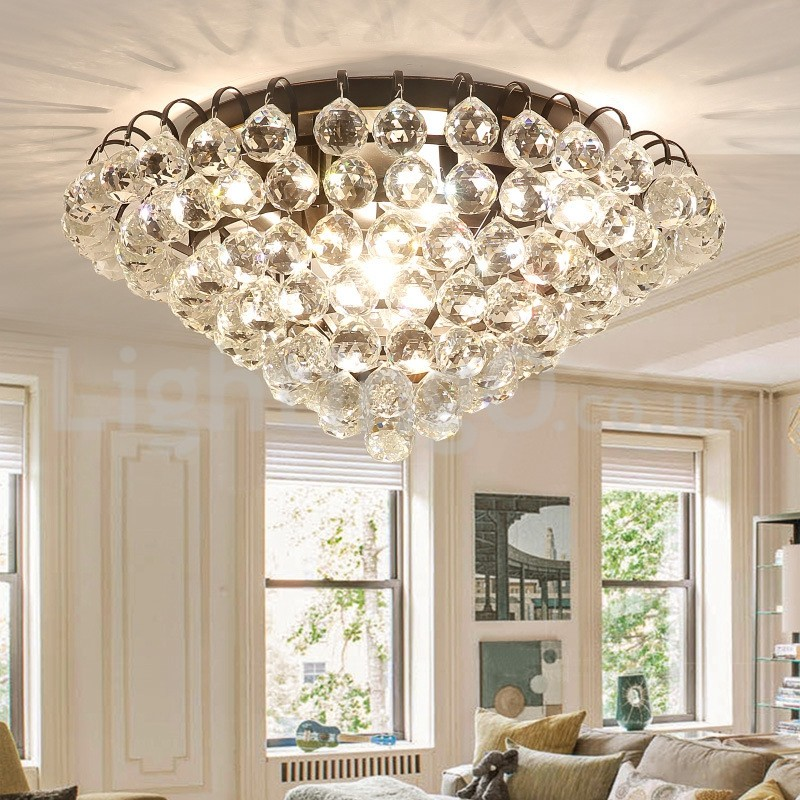 Contemporary 30cm 55cm Round Crystal Flush Mount Ceiling Lights Hallway Balcony Aisle Entrance
