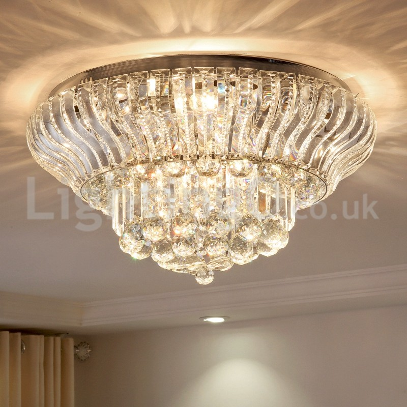 Contemporary Modern 38cm 57cm Round Flush Mount Crystal