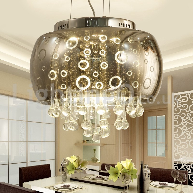 Modern 40cm round glass lamp shade crystal pendant light - Modern lamp shades for living room ...