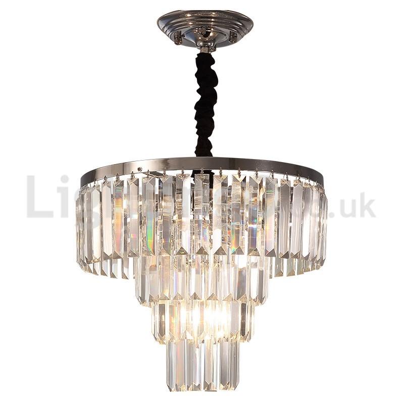 Elegant Cheap Modern 4 Tier Round Crystal Pendant Light Dining Room Living Room Bedroom
