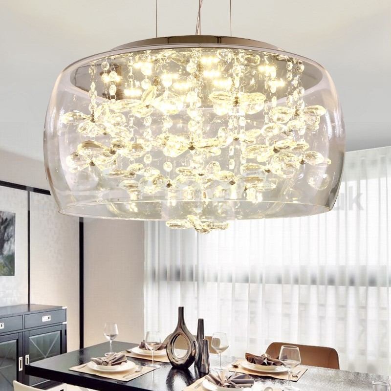 Modern 40cm 50cm Round Clear Glass Lamp Shade Crystal