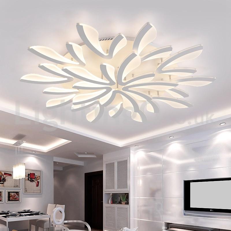 25 Living Room Lighting Ideas For Right Illumination: Personality 15 Lights Elegant Modern Flush Mount Ceiling
