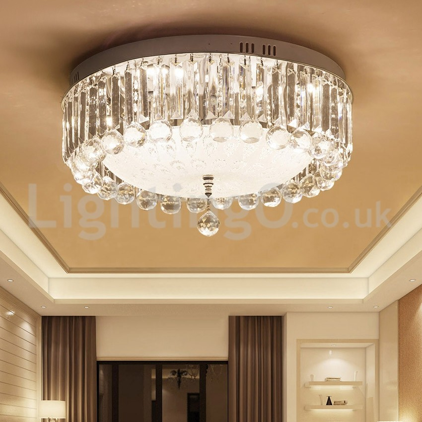 Modern Round Crystal Flush Mount Ceiling Lights Bedroom